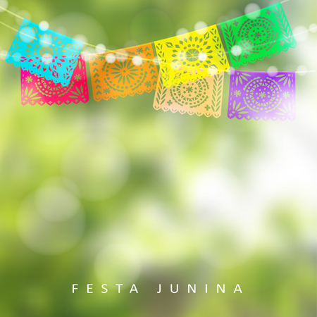 modern garden: Brazilian Festa Junina or Midsummer greeting card, invitation. Garden party decoration, string of lights, paper flags. Modern blurred background. Vector illustration. Illustration