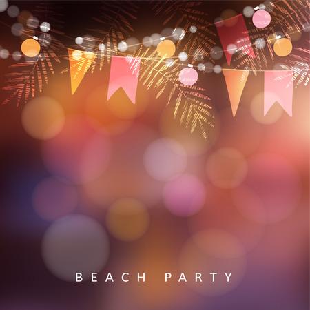 Strandfeest, Festa Junina of Midzomer groetkaart, uitnodiging. Tuinfeestdecoratie, lichtbundel, papieren vlaggen en palmbladeren. Moderne onscherpe achtergrond. Vector illustratie.