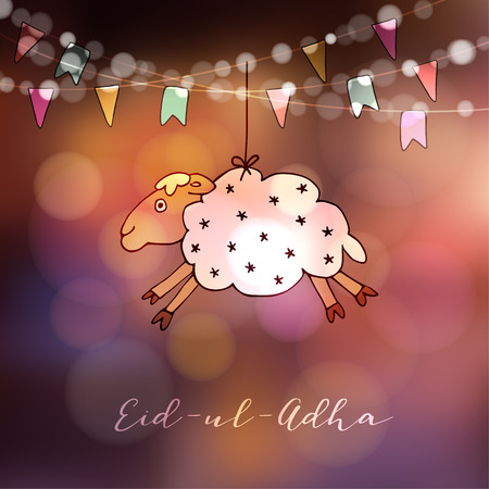 Eid-ul-adha greeting card with hand drawn sheep and party flags. Muslim community festival of sacrifice. Modern blurred background with bokeh lights.