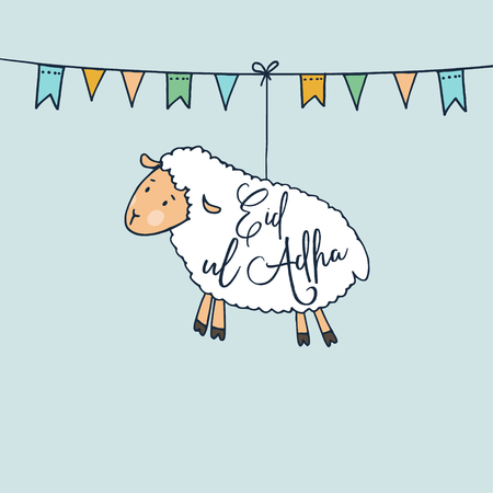 Eid-ul-Adha greeting card with hand drawn sheep and party flags. Muslim community festival of sacrifice. Vector illustration background. Web banner. Illustration