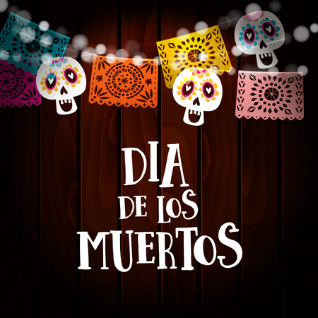 Dia de los Muertos, Day of the Dead or Halloween card, invitation with string of lights, sculls and paper cut party flags. Old wooden background. Vector illustration background.