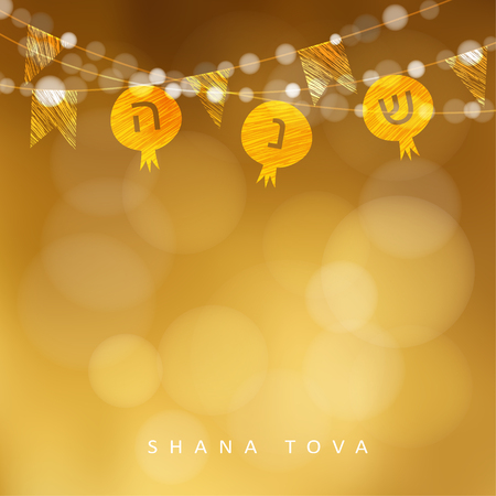 Rosh Hashanah, Jewish New Year holiday greeting card, invitation with string of lights and pomegranate flags decoration. Modern golden blurred vector illustration background