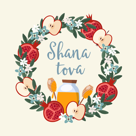 Shana Tova greeting card, invitation for Jewish New Year Rosh Hashanah. Floral wreath made of pomegranate and apple fruit, leaves, flowers and honey. Vector illustration background, flat design. Illustration