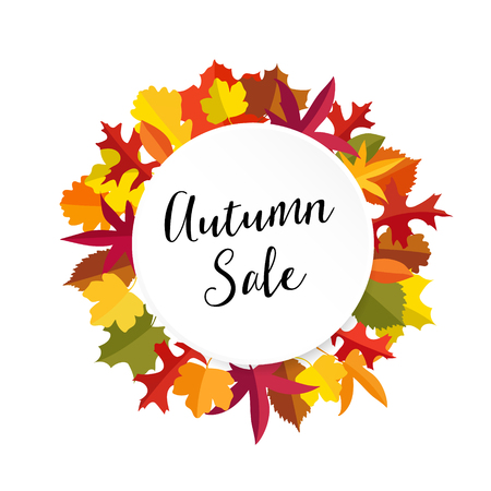 Autumn, fall sale banner with colorful leaves. Modern flat design. Isolated vector illustration.