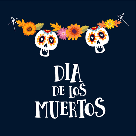 Dia de los Muertos or Halloween greeting card, invitation. Mexican Day of the Dead. String decoration with mums flowers and ornamental sugar skulls. Hand drawn vector illustration, background. Illustration