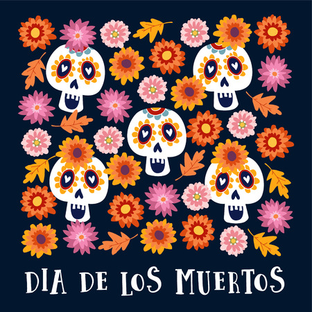 Dia de los Muertos or Halloween greeting card, invitation. Mexican Day of the Dead. Decorative Calavera catrina skulls and colorful autumn leaves and flowers. Hand drawn vector background, pattern.
