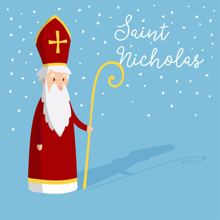Cute greeting card with Saint Nicholas with mitre and pastoral staff. European winter tradition. Hand drawn design. Vector illustration background with falling snow. Stock Illustratie