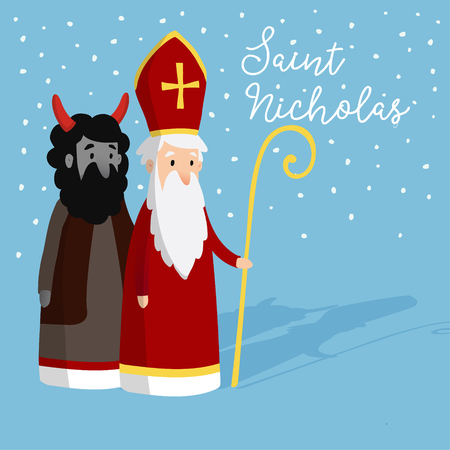 Cute Saint Nicholas with devil and falling snow. Christmas invitation card, vector illustration, winter background Illustration
