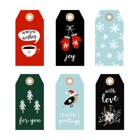 Set Of Cute Christmas Gift Tags, Labels With Bird, Gloves ...