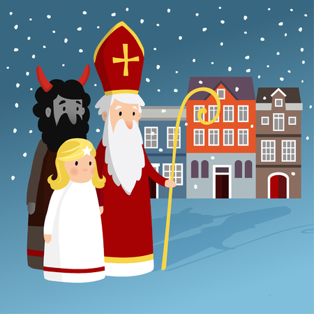 Cute Saint Nicholas with angel, devil, old town houses and falling snow. Christmas invitation card, vector illustration, winter background Illustration