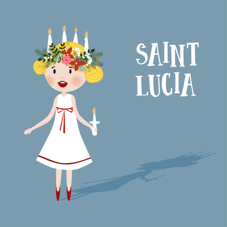 scandinavia: Little blonde girl with floral wreath and candle crown, Saint Lucia. Swedish Christmas tradition, vector illustration background. Flat design. Illustration