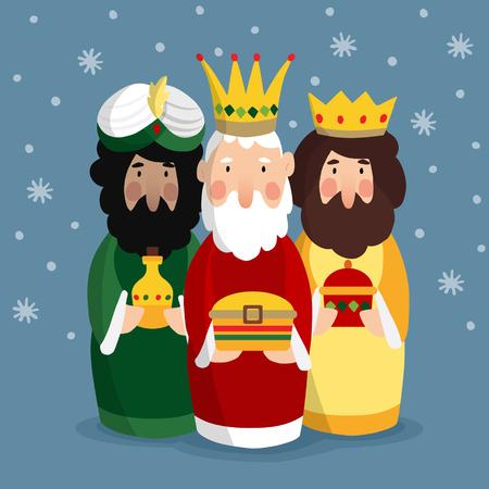Carte de voeux de Noël mignon avec trois rois. Vecteurs