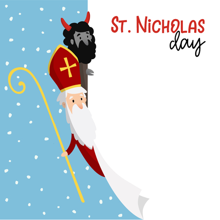 San Nicola con il diavolo e il disegno della neve che cade Archivio Fotografico - 90584823