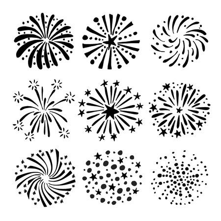 Set of hand drawn fireworks and sunbursts. Illustration