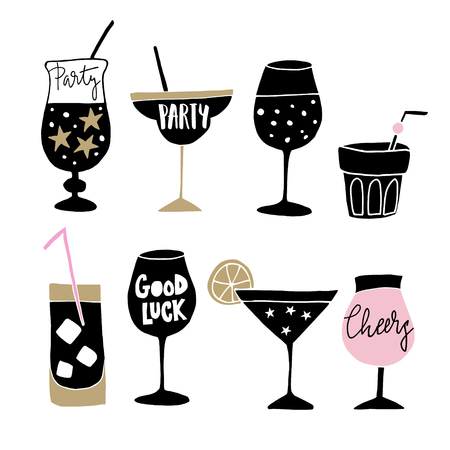 Set of hand drawn alcoholic drinks, cocktails with lettering quotes. Happy New Year celebration concept, isolated vector icons. 向量圖像