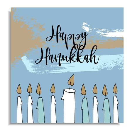 Hanukkah greeting card with hand drawn candles from menorah candleholder, vector illustration, artistic background with various brush strokes. Stock Photo