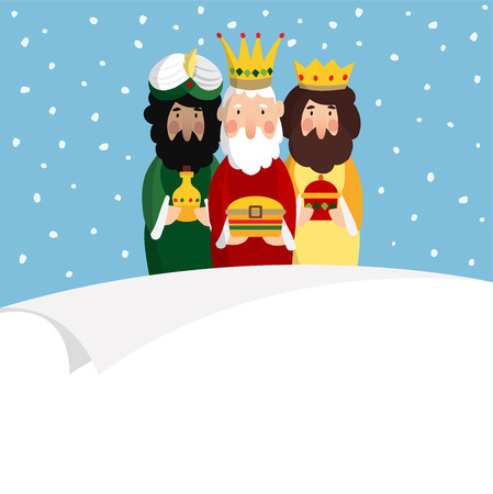 Three magi. Biblical kings Caspar, Melchior and Balthazar, vector illustration background, web banner for Spanish Dia del Reyes holiday with blank list of paper.