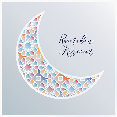 Ornamental Arabic half moon with decorative colorful tile pattern background. Vector illustration greeting card, invitation for Muslim community holy month Ramadan Kareem.
