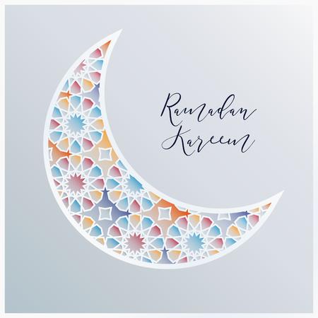 Ornamental Arabic half moon with decorative colorful tile pattern background. Vector illustration greeting card, invitation for Muslim community holy month Ramadan Kareem.