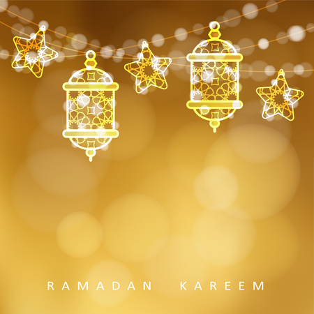 Islamic greeting card. Garlands with oriental arabic lanterns, stars and lights. Golden vector illustration background, invitation for muslim holy month Ramadan Kareem. Çizim