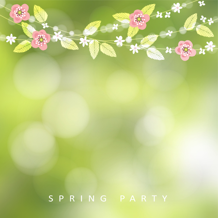 String of bokeh lights, leaves and cherry blossoms. Modern blurred background. Garden party decoration. Çizim