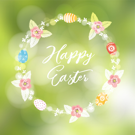 Spring, Easter greeting card, invitation. Floral wreath of bokeh lights, leaves, colorful Easter eggs and cherry blossoms. Modern blurred background. Garden party decoration. Illustration