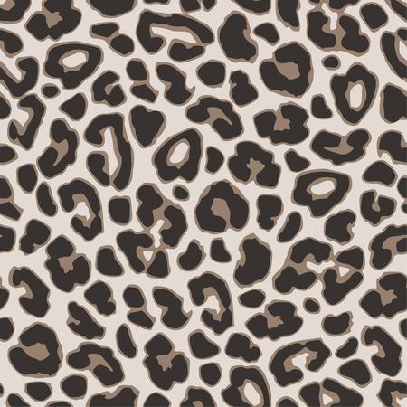 Brown leopard or jaguar seamless pattern. Modern animal fabric design. Vector illustration background.
