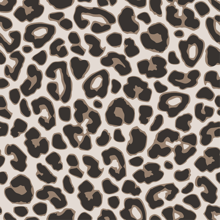 Brown leopard or jaguar seamless pattern. Modern animal fabric design. Vector illustration background.