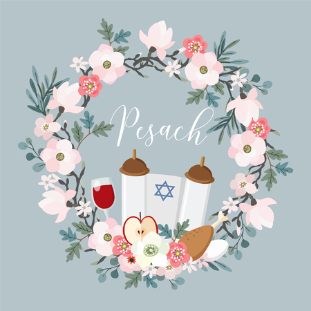 Hand drawn floral wreath with Torah, Jewish star, egg, apple, glass of wine, olive branches and flowers.