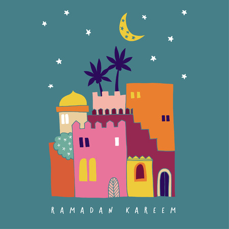 Hand drawn colorful arab houses with moon and stars. Moroccan or mideast town. Greeting card, invitation for Muslim holiday Ramadan Kareem. Vector illustration, background, flat design.
