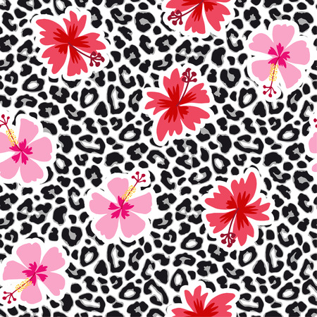 Tropical seamless background with hibiscus flowers and leopard pattern. Exotic animal and floral vector illustration.