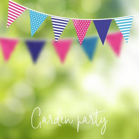 Birthday garden party or Brazilian june party, vector illustration with garland of party flags and blurred background