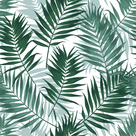 Tropical jungle seamless pattern with palm leaves. Summer fabric floral design, vector illustration background. 스톡 콘텐츠 - 102074680
