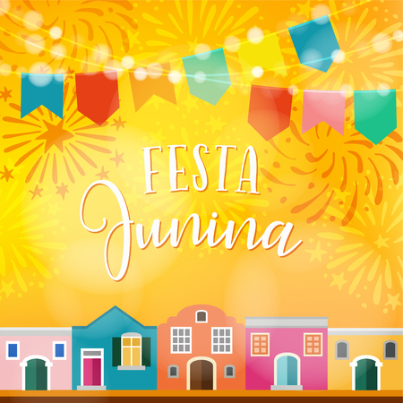 Festa junina, Brazilian june party. Latin American holiday. Vector illustration background with garland of flags, colorful houses and fireworks.