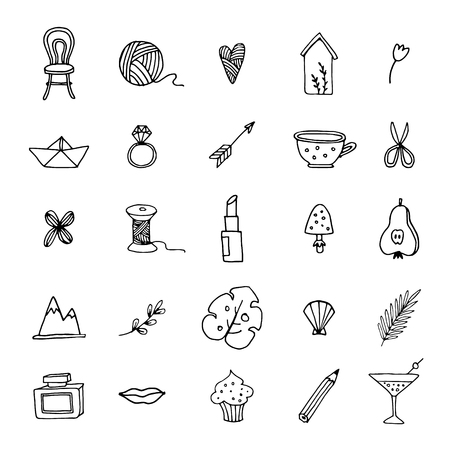 Hand drawn set of feminine doodle line icons. Lifestyle, floral, food and drink sketch symbols. Isolated vector objects.