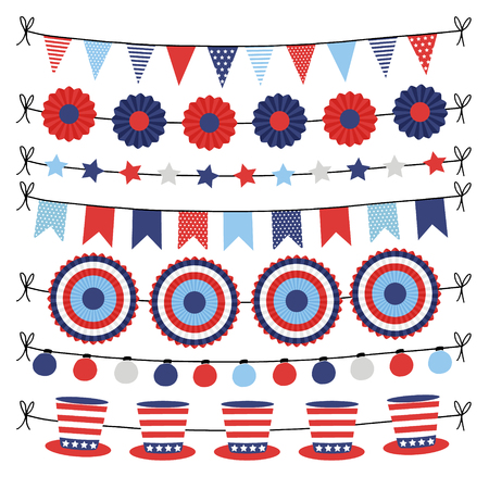 Set of bunting paper flags garlands. Party decorations, web banners in USA flag colors. Isolated vector illustrations, objects. Happy Independence day, 4th July national holiday design.