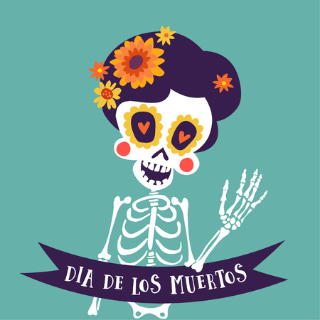 Dia de Los Muertos greeting card, invitation. Mexican Day of the Dead. Skeleton woman with flowers and ribbon banner. Ornamental skull, hand drawn vector illustration, background.
