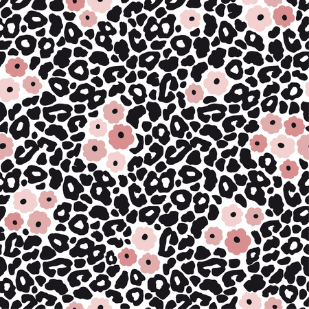 Modern black and white leopard seamless pattern with pink flowers. Animal skin and floral design, vector illustration background.