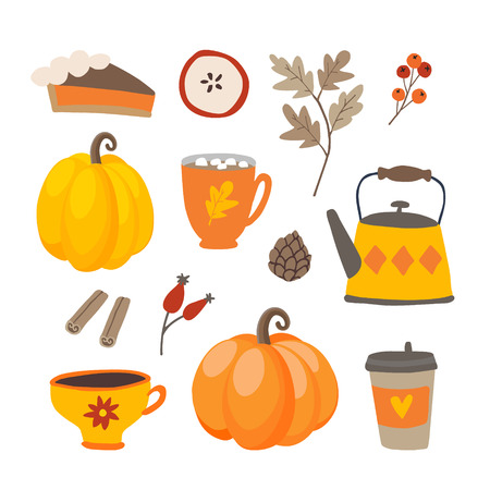 Set of cute cartoon Thanksgiving day icons with pumpkins, pie, coffee, cinnamon spice and oak leaves. Fall season designs, autumn sticker collection. Isolated vector scrapbooking illustrations. Vettoriali