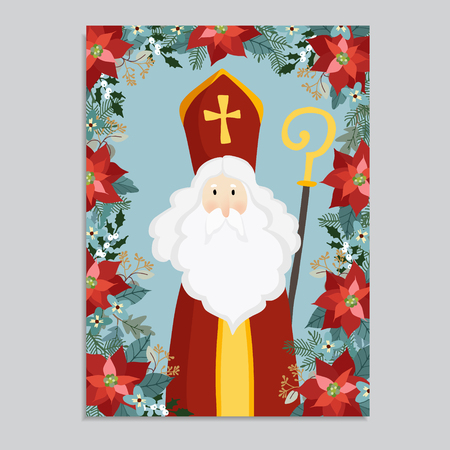 Cute greeting card with Saint Nicholas falling snow. Decorative winter floral frame of poinsettia, eucalyptus, holly and Christmas fir tree branches. Flat design, vector illustration.