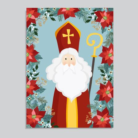 Leuke wenskaart met vallende sneeuw van Sinterklaas. Decoratief winter bloemenkader van poinsettia, eucalyptus, hulst en takken van de Kerstmisspar. Plat ontwerp, vector illustratie. Stockfoto