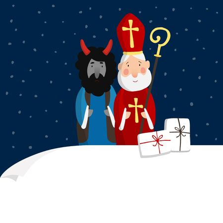 Cute St. Nicholas with devil, gift boxes and falling snow. Christmas invitation, greeting card. Flat kids design. Vector illustration, web banner with blank paper. Winter background. Illustration