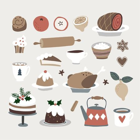 Set of cute Christmas food and drink icons. Roasted turkey, Christmas cake, cinnamon bun, coffee, gingerbread cookies and fruit. Vintage flat design. Isolated vector objects.