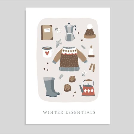 Cute Christmas greeting card, invitation with winter essential food and lifestyle icons. Knitted sweater, hat, coffee, cinnamon bun and candles. Vintage flat design. Isolated vector objects. Banco de Imagens