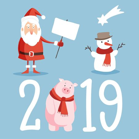 Christmas and New Year 2019 cute icons set. Santa with board sign, snowman and pig isolated vector illustrations. Flat design. Ilustração