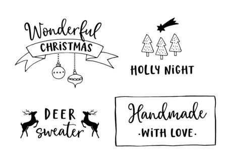 Christmas and New Year lettering set. Hand lettered quotes for greeting cards, gift tags, labels. Typography collection. Vector illustrations, web banners.