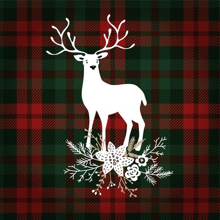 Merry Christmas greeting card, invitation. Deer animal with Christmas floral bouquet decoration. Tartan checkered plaid, vector illustration background.