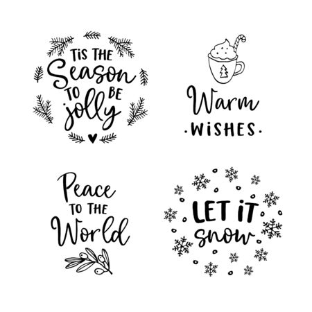 Christmas and New Year lettering set. Hand lettered quotes for greeting cards, gift tags, labels. Typography collection. Vector illustrations, frames. Vector Illustration