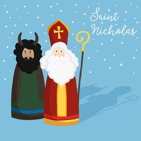 Cute St. Nicholas with devil, text and falling snow. Christmas invitation, greeting card. Flat kids design. Winter vector illustration background, web banner. Ilustração