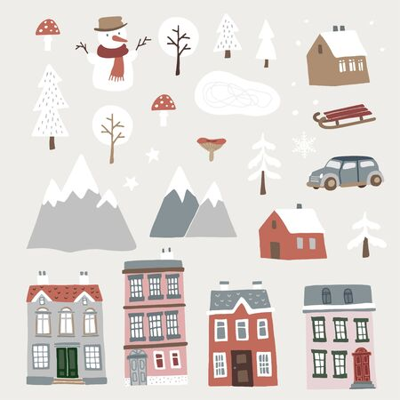 Set of cute Christmas landscape, town and village icons. Hand drawn houses, mountains, snowman and trees. Isolated winter vector objects, flat design.